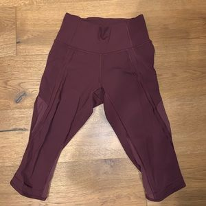 Lululemon luxtreme 1/2 length burgundy legging